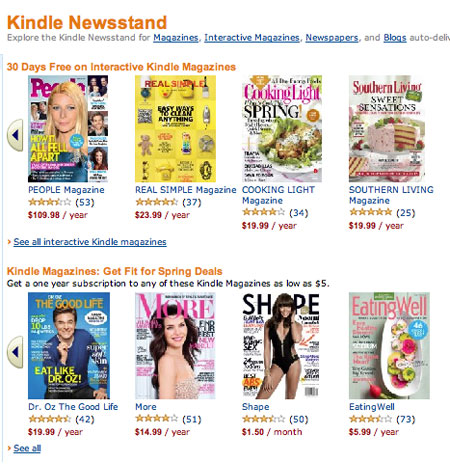 Amazon and Apple Newsstands: compare and contrast - Talking