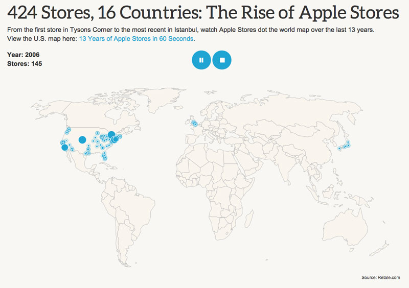Retale creates animated map of apple retail stores on 13th retale applestores gumiabroncs Gallery