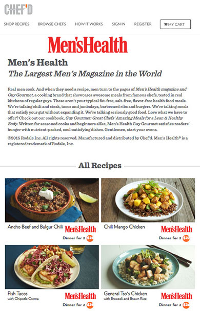 Rodale teams up with chefd on gourmet meal kit delivery service and a major media company is launching during national mens health week june 15 21 with a selection of customized mens health meals the recipe forumfinder Choice Image