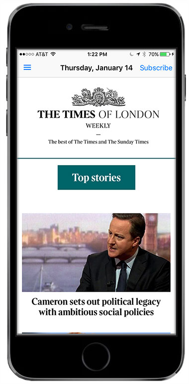 The Times of London Weekly newspaper