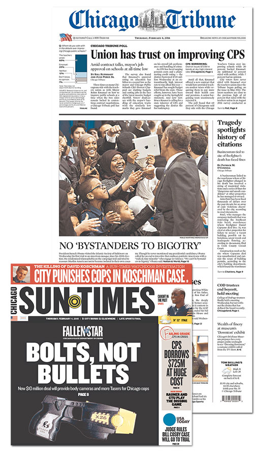 Chicago Tribune Sun-Times newspapers