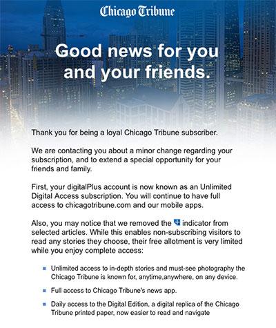 Chicago Tribune paywall newspaper