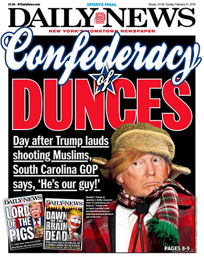Donald Trump Daily News newspaper front page
