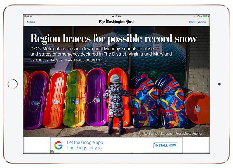 The Washington Post iPad newspaper
