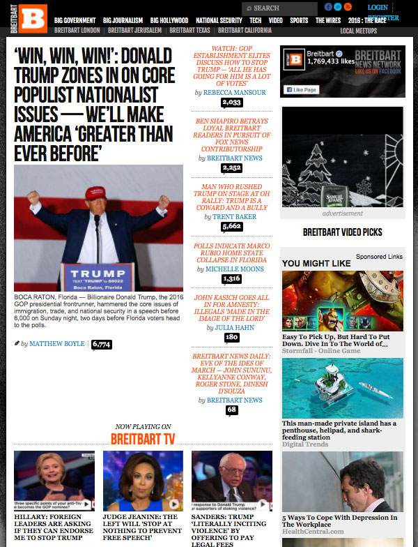Breitbart News website