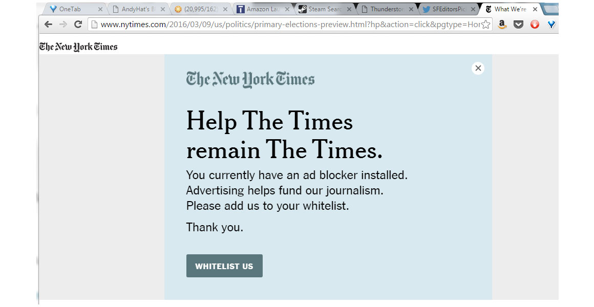 New York Times ad block message