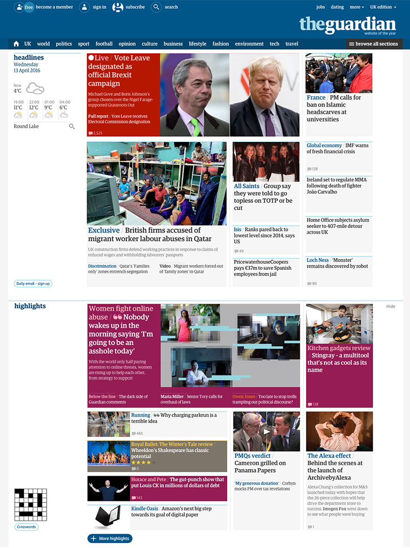 The Guardian newspaper website