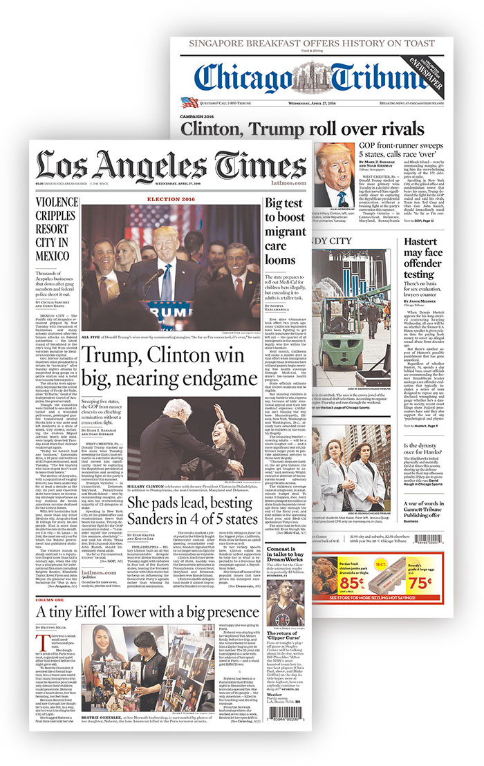 LA Times Chicago Tribune newspapers